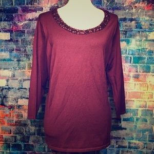 Talbots NWT cranberry/maroon sweater with sequins.